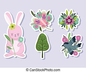花, 兔子, 蝴蝶, 放置, 春天, 鸟, 屠夫, 树
