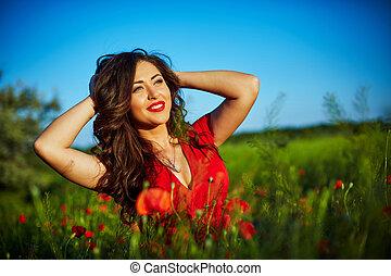 花, 分野のケシ, 女, 美しい