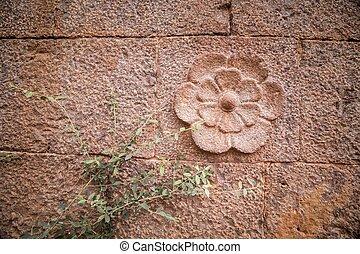 花, 刻まれた, 石