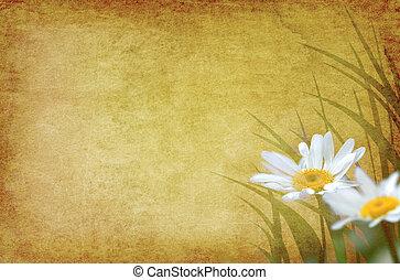 花, 包囲された, グランジ, グラフィックス