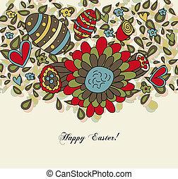 花, 卵, イースター, カード