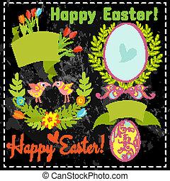 花, 卵, セット, 要素, 黒板