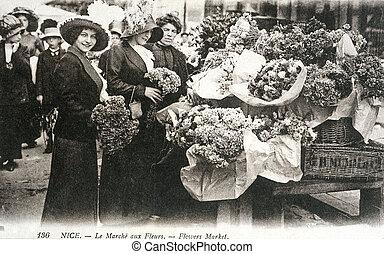 花, 古い, すてきである, 葉書, 市場