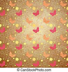 花, 同时,, 蝴蝶, grunge, 风格, 春天, 背景, 葡萄收获期, 纸