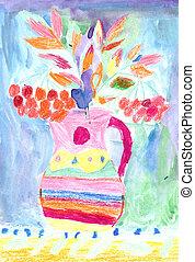 花, 図画, カラフルである, 子供