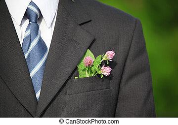 花, 在, the, 口袋, ......的, 衣服