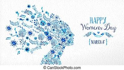 花, 型, イラスト, 幸せ, 日, 女性