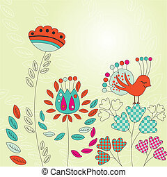 花, 型, カード, 鳥
