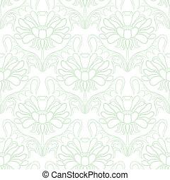 花, 型, ダマスク織, パターン