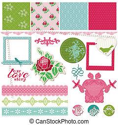 花, 型, フレーム, -, ベクトル, デザイン, カード, 写真, スクラップブック, 要素