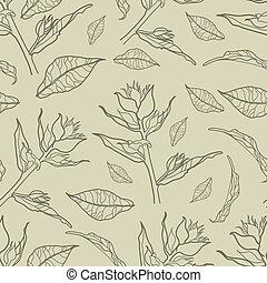花, 型, ベクトル, seamless, パターン