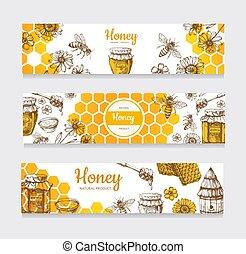 花, 型, ラベル, honeyed, ミツバチの巣箱, 手, 蜂蜜, banners., ベクトル, 引かれる, 蜂, ハチの巣