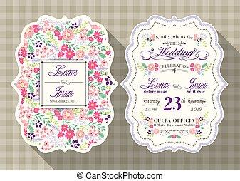 花, 型, 結婚式, テンプレート, 招待, カード