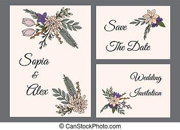 花, 型, 結婚式, テンプレート, 招待