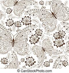 花, 型, 繰り返すこと, パターン