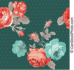 花, 型, -, seamless, ベクトル, デザイン, 背景, スクラップブック