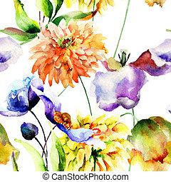 花, 壁紙, seamless