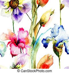 花, 壁紙, seamless, 野生