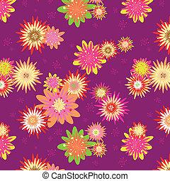 花, 夏, seamless, カラフルである, パターン