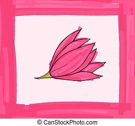 花, 大きい, ピンク, ボーダー