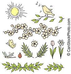 花, 太阳, 鸟, 分支, 蝴蝶, 放置