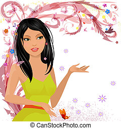 花, 女の子, ファッション意匠, あなたの