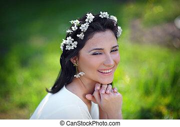 花, 女の子, 春, 美しい