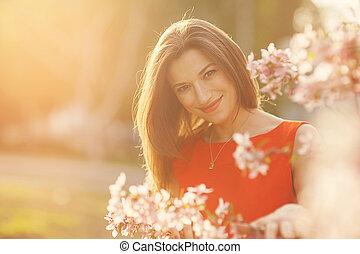 花, 女の子, 美しい