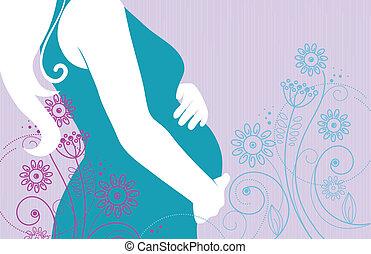 花, 女 シルエット, 妊娠した
