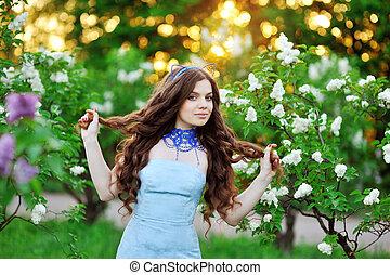 花, 女, ライラック, 美しい