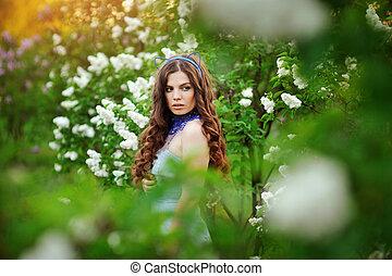 花, 女, ライラック, 若い