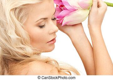 花, 女, ロータス, 美しい