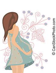 花, 女, 背景, 妊娠した