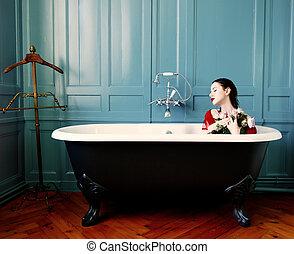 花, 女, 若い, 浴室