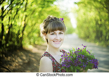 花, 女, 若い, 美しい