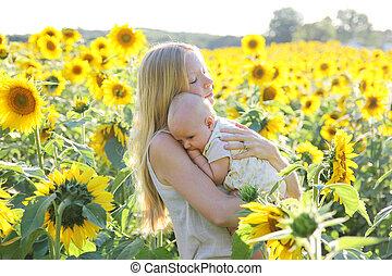 花, 娘, 牧草地, 保有物, 母, 赤ん坊