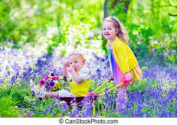 花, 子供, 庭, ブルーベル