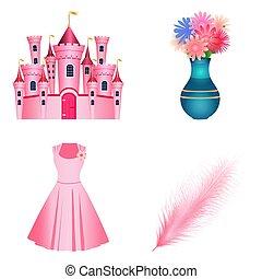 花, 平ら, セット, 城, 羽ペン, アイコン, style., 白, 隔離された, 王女, つぼ, バックグラウンド。, 服, ベクトル, イラスト