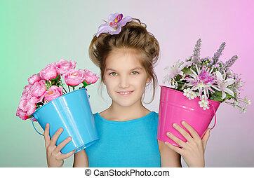 花, 幸せ, 女の子