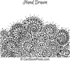 花, 引かれる, 手, いたずら書き