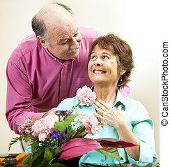 花, 彼の, 女性