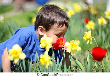 花, 微笑, 男の子