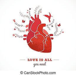 花, 心, バレンタイン, 愛, 背景