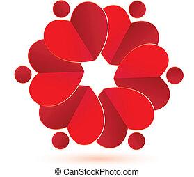 花, 心, 花, チームワーク, ロゴ