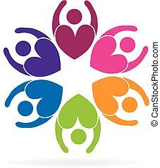 花, 愛, ビジネス 人々, チームワーク, ロゴ