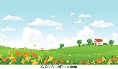 花, 房子, 陽光普照, seamless, field., 小山, 天, 風景