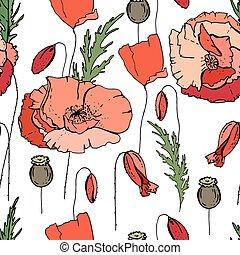 花, 手ざわり, パターン, poppies., seamless, デザイン, 無限