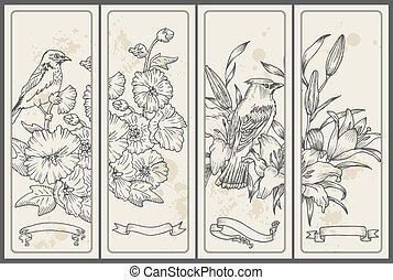 花, -, 手, ベクトル, レトロ, 引かれる, 旗, 鳥