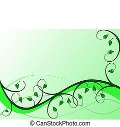 花, 抽象的, ベクトル, 緑の背景