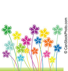花, 抽象的, ベクトル, 背景